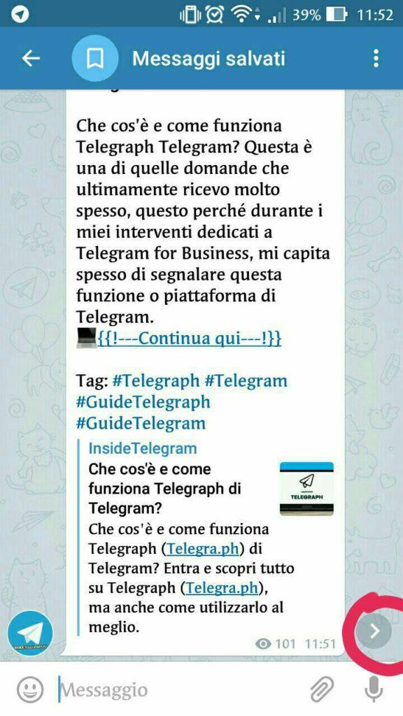 telegram 4.5 messaggi salvati e inoltrati