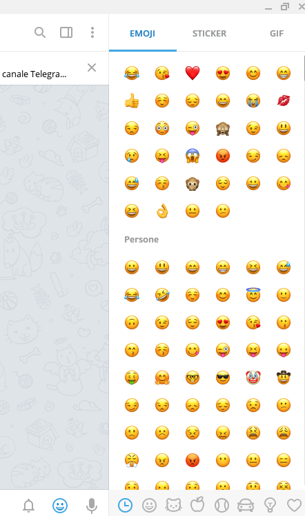 telegram desktop 1.2 barra laterale emoji