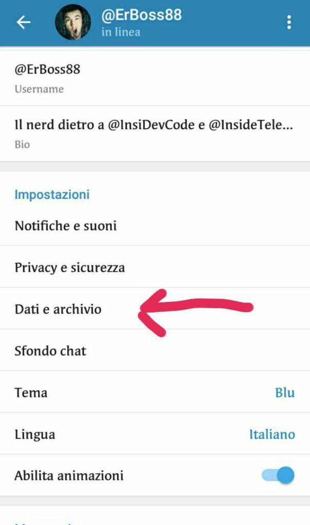 Come disattivare in Telegram il download automatico - dati e archivio