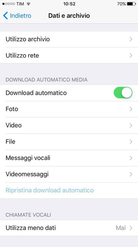 Telegram Stock iOS disattivare in Telegram il download automatico
