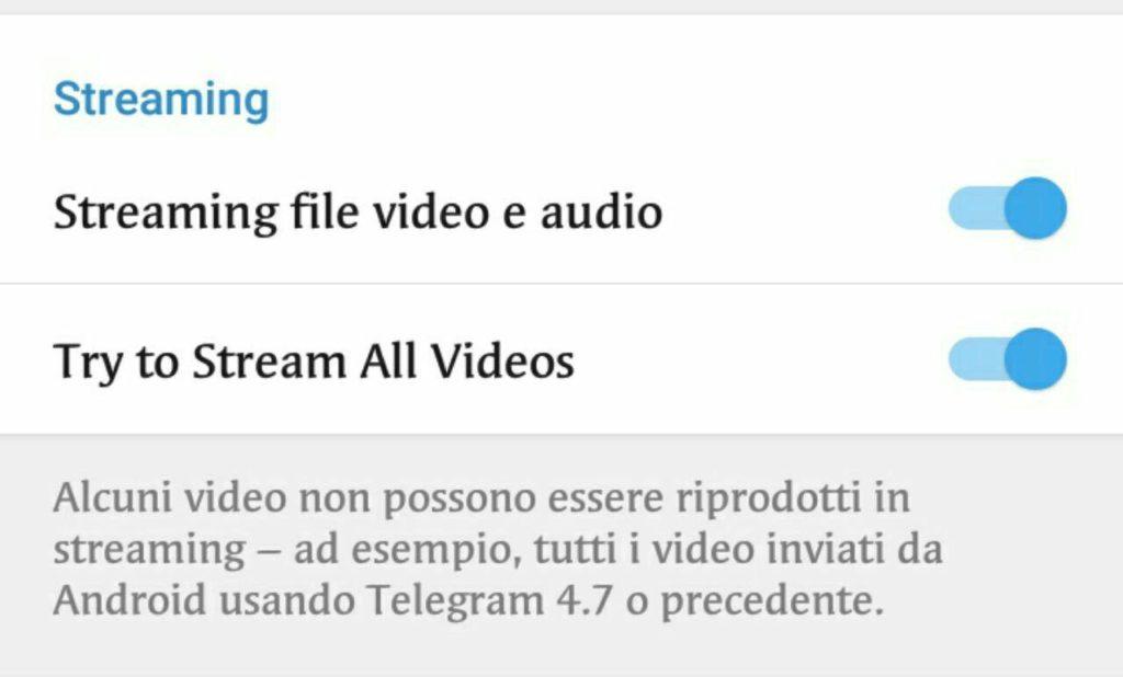 telegram 4.8-streaming video e audio-attiva e disattiva
