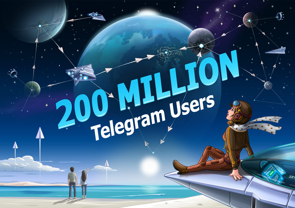 Telegram and its 200.000.000 users active on a monthly basis