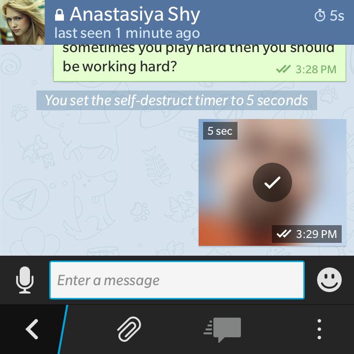 chat segreta in Telegram time di autodistruzione in uscita