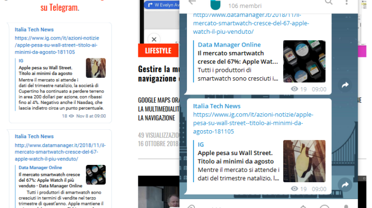 Italia Tech News widget telegram su wordpress