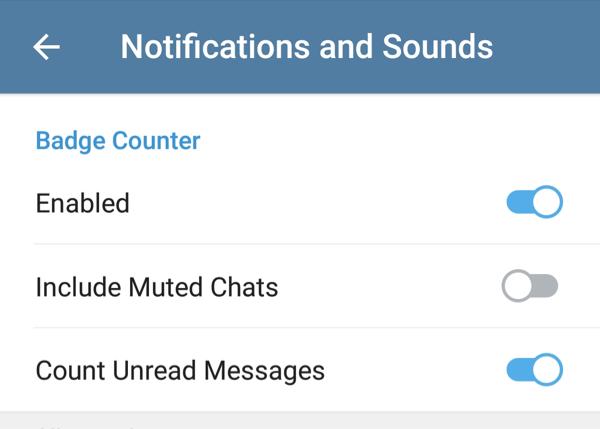 telegram 5.0 per android gestione notifiche