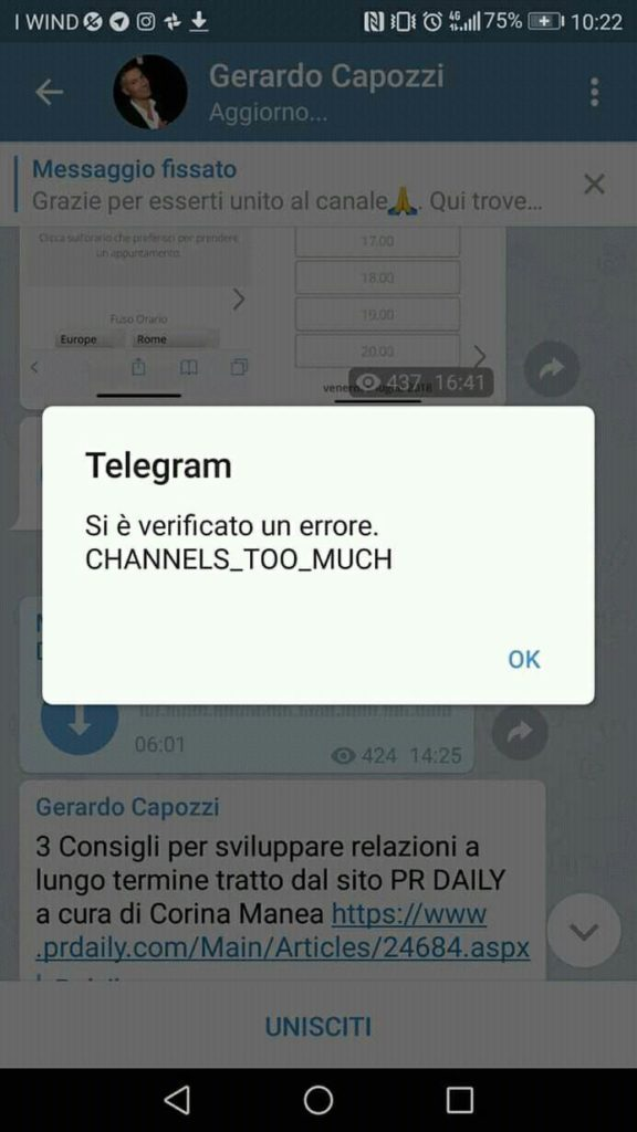 Telegram errore channel too much
