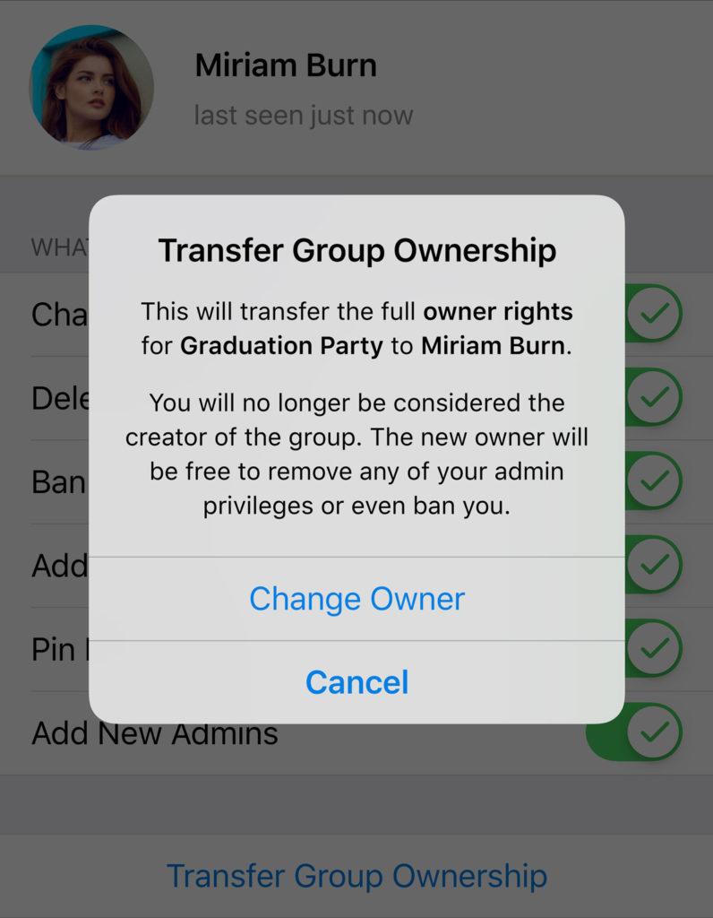 telegram 5.8 per android e ios trasferimento proprietà