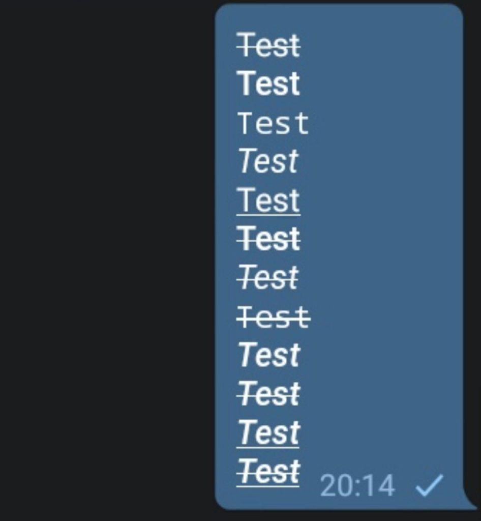 Telegram 5.10 per android e ios formattazione testo
