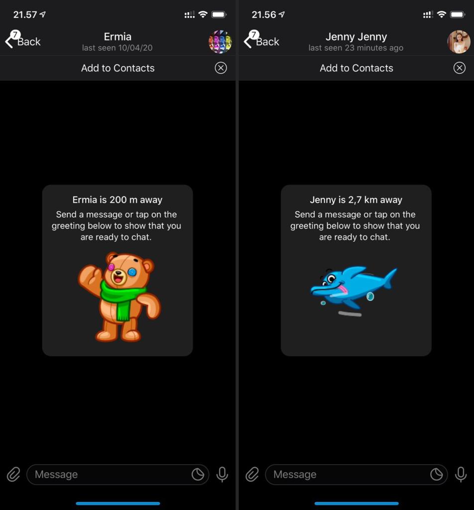 Telegram 6.3 per ios e Android persone vicine