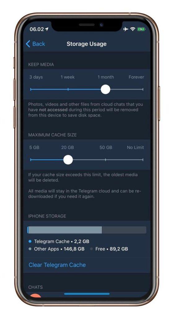 cache massima su ios telegram 6.3 per ios