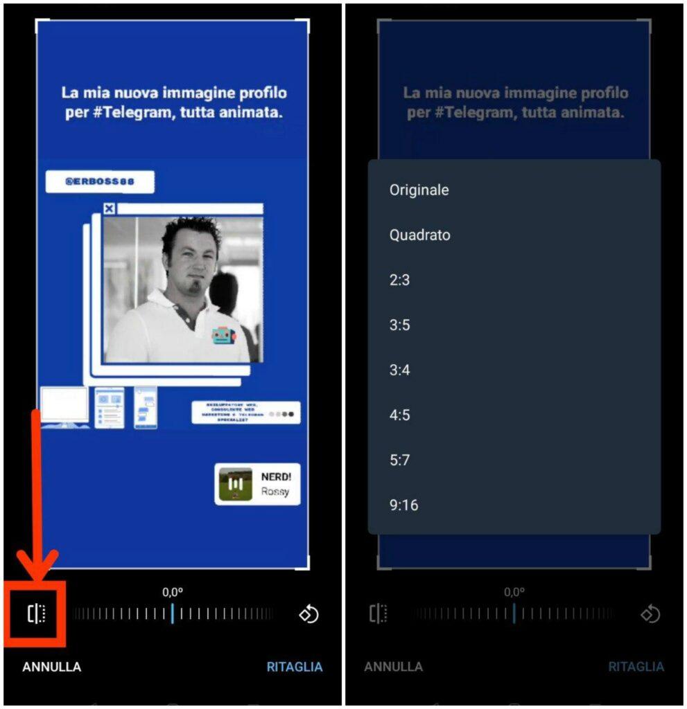 tagliare in proporzione e ruotare il video telegram 6.3 per Android