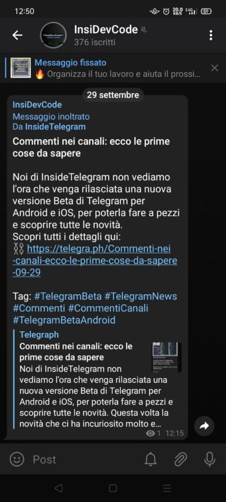 telegram 7.1 commenti nei canali no inoltro