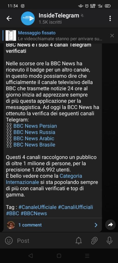 telegram 7.1 commenti nei canali retroattivi