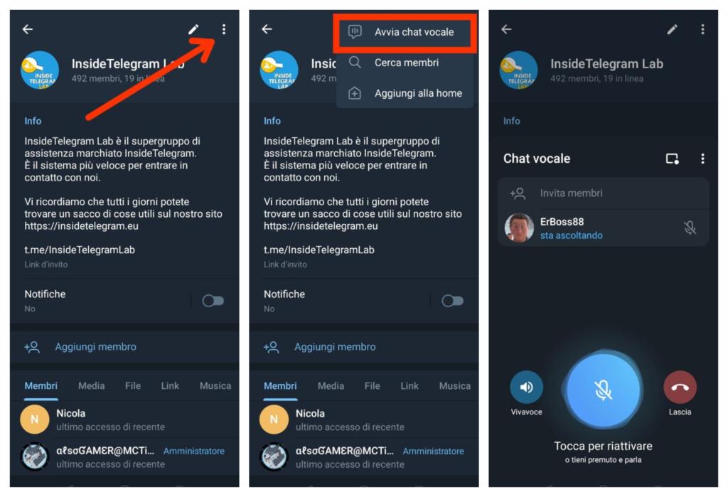 Telegram Chat vocali di gruppo