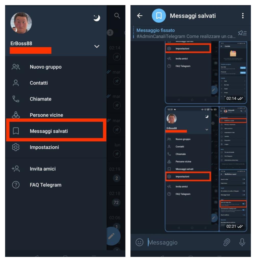 telegram messaggi salvati e cloud