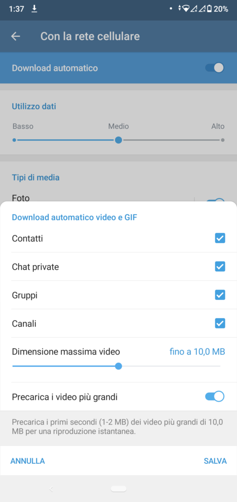 Telegram più leggero: download automatico media